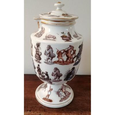 Covered Jug With Circus Decor