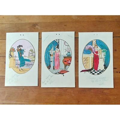 3 Fashion Watercolors 1925 Signed Molino