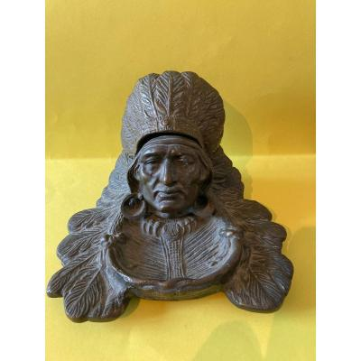 Inkwell Indian Head In Bronze