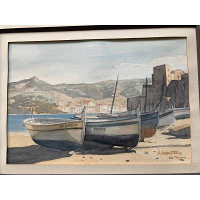 Boats At Collioure - Signed Watercolor