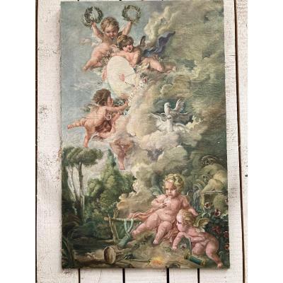 Peinture Aux Angelots Et Cupidon
