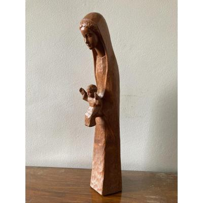 Virgin And Child Carved Wood Victor Feltrin