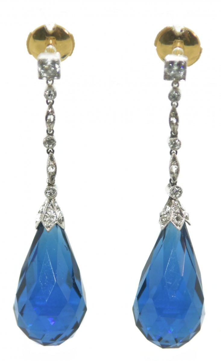 Boucles d'Oreilles En Diamants 1930  Platine  diamant et Verre