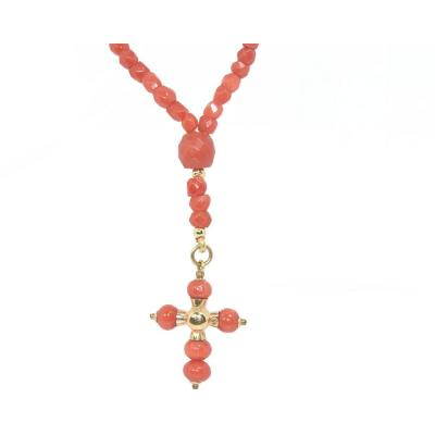 Necklace In Faceted Coral And Gold Beads