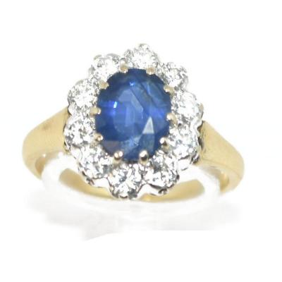 Yellow And Gray Gold Ring With Sapphire