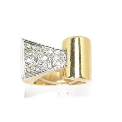 Gold And Diamond Tank Ring