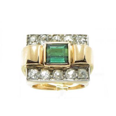 Gold Tank Ring, Diamond And Tourmaline