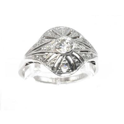 Diamond And Platinum Dome Ring