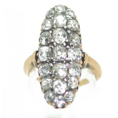 Bague Marquise Diamant Or Et Argent