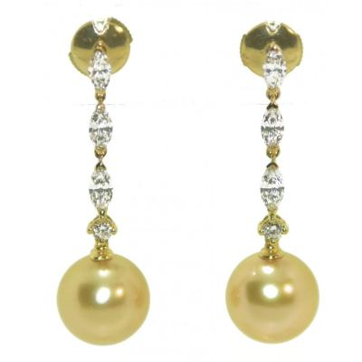 Earrings Pearls Gold Yellow Gold And Diamonds Shuttle