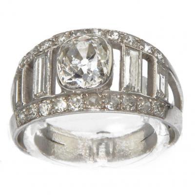 Bague En Diamant Et Platine Forme Bandeau