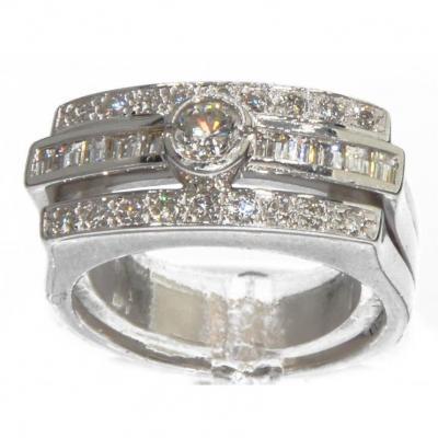 Bague Rectangulaire En Or Gris Et Diamant