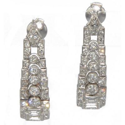 Boucles d'Oreilles En Platine Et Diamants