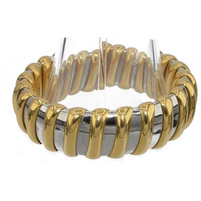Bracelet Or Jaune Et Acier Signée De La Maison Bvlgari