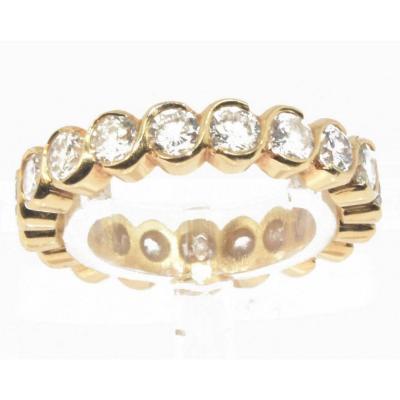 Alliance En Diamants Taille Brillant Or Jaune