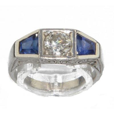 Bague Jarretière En Or Gris Diamant Et Saphirs