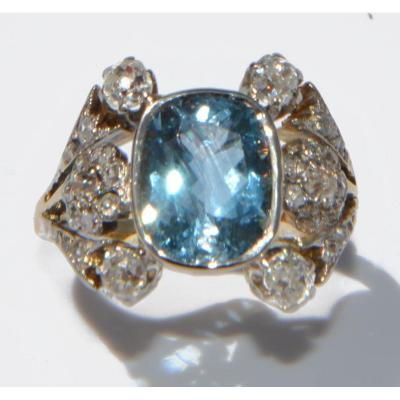 1910 Ring In Gold And Silver Adorned With An Aquamarine
