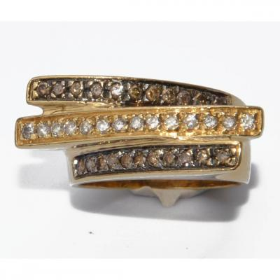 Bandeau Ring Yellow Gold And Cognac Diamond