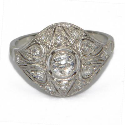 Diamond Openwork Dome Ring In Platinum