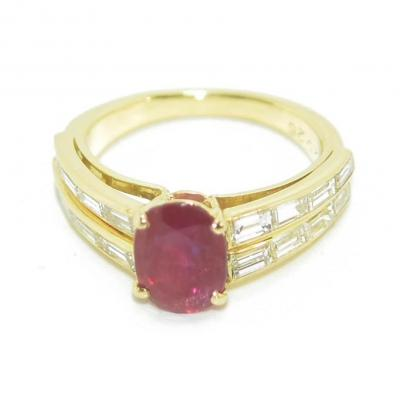 Yellow Gold Ring Adorned With A Burmese Ruby