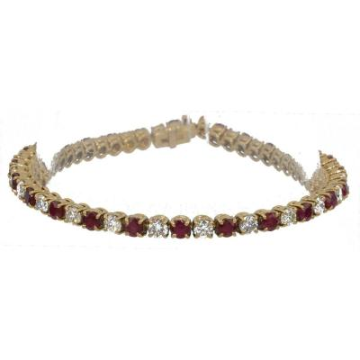 Rivière Bracelet In Yellow Gold With Diamonds And Rubies