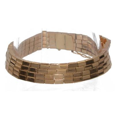 18k Rose Gold Bracelet Forming Rectangular Links