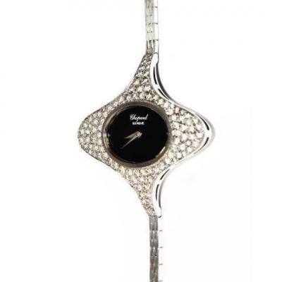 Montre Ovale Or Gris Diamants Chopard Année 1970