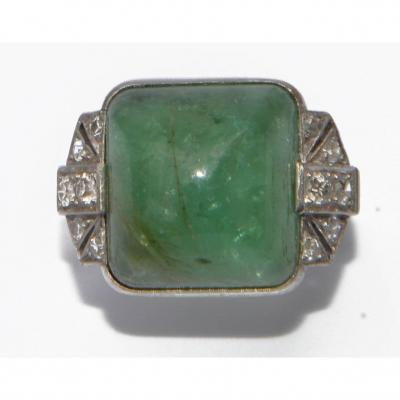 Pain De Sucre Emerald And Platinum Ring