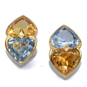 Earrings In Yellow Gold And Fine Stones