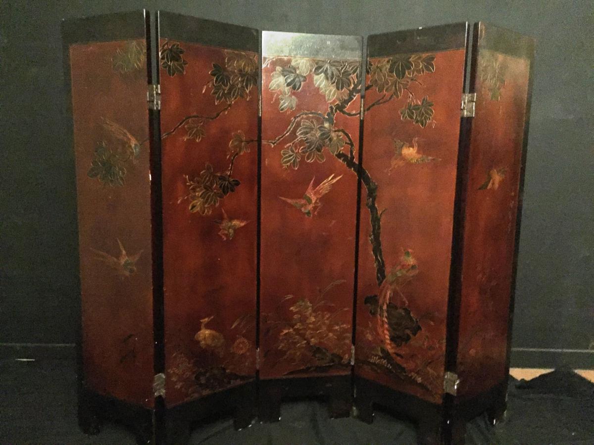 paravent en laque art deco chine 5 feuilles paravents. Black Bedroom Furniture Sets. Home Design Ideas