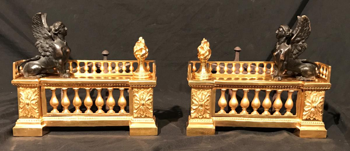 paire de chenet en bronze dore 39 du xixeme siecle chemin es anciennes. Black Bedroom Furniture Sets. Home Design Ideas