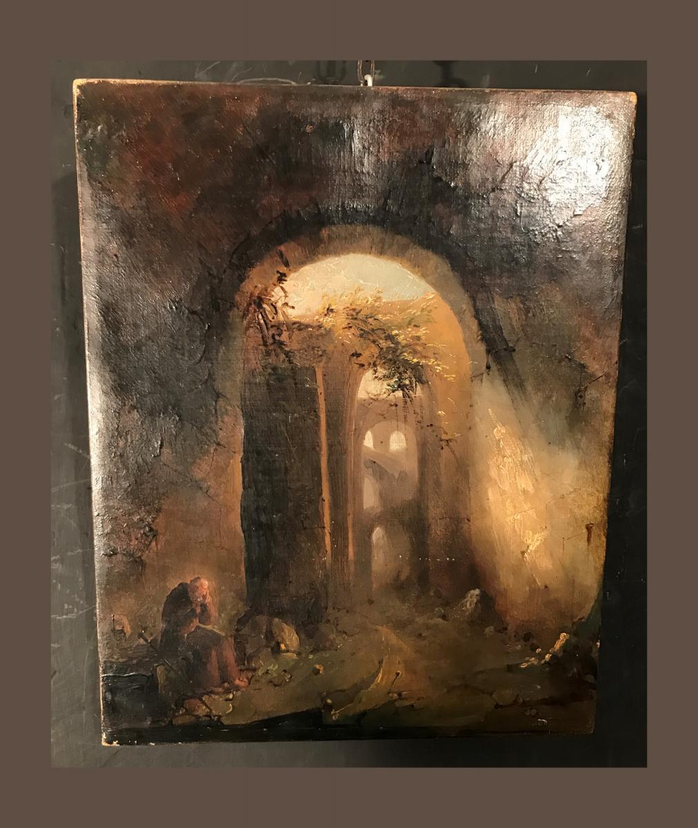 """Tableau Peinture Huile Sur Toile """"vincenzo Abbati"""""""