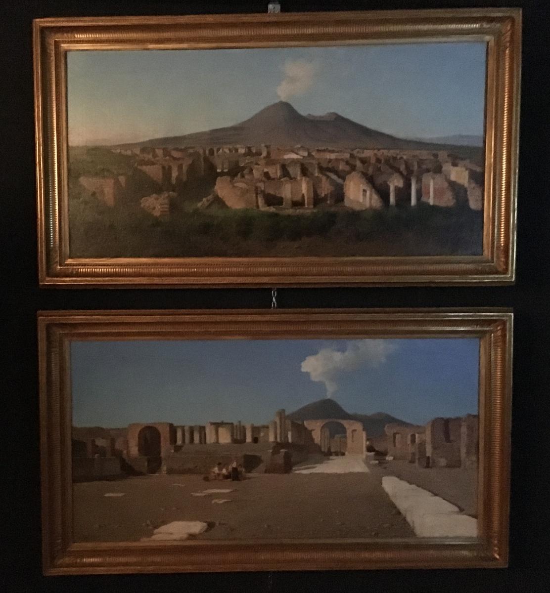 """Paire De Tableau Peinture Huile Sur Toile Pompei """"alessandro La Volpe"""""""
