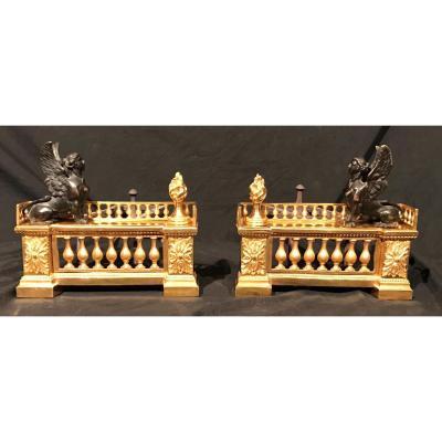 Chenet Pair Bronze Dore 'from XIX Siecle