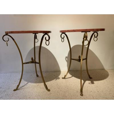 Pair Of Bronze Pedestal Table