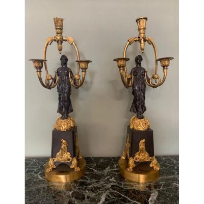 Pair Of Candelabra In Gilt Bronze And Patina