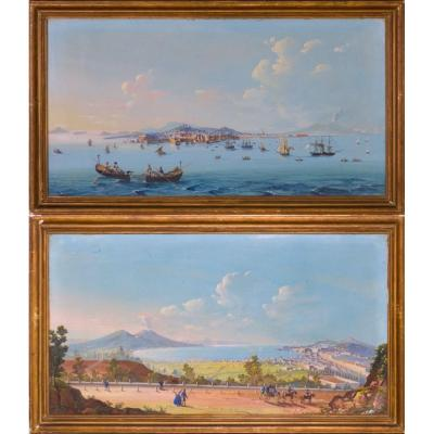 Pair Of Guasche View Of Naples
