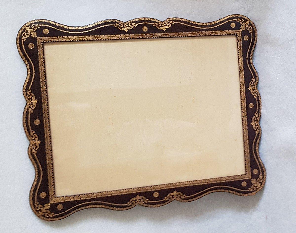 Large Leather Frame Gold Frieze