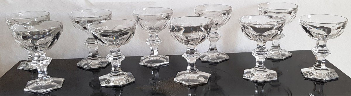 10 Old Crystal Champagne Glasses Harcourt Model Varies Height 12.5 -13 Cm-photo-2