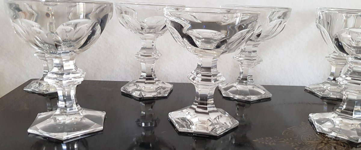 10 Old Crystal Champagne Glasses Harcourt Model Varies Height 12.5 -13 Cm-photo-3