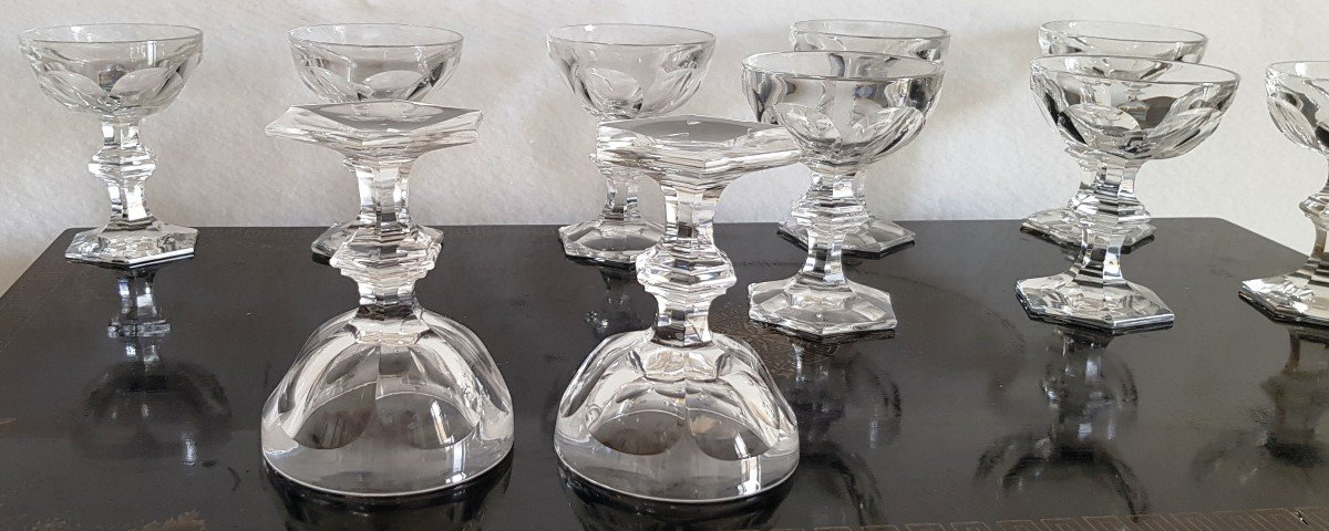 10 Old Crystal Champagne Glasses Harcourt Model Varies Height 12.5 -13 Cm-photo-4