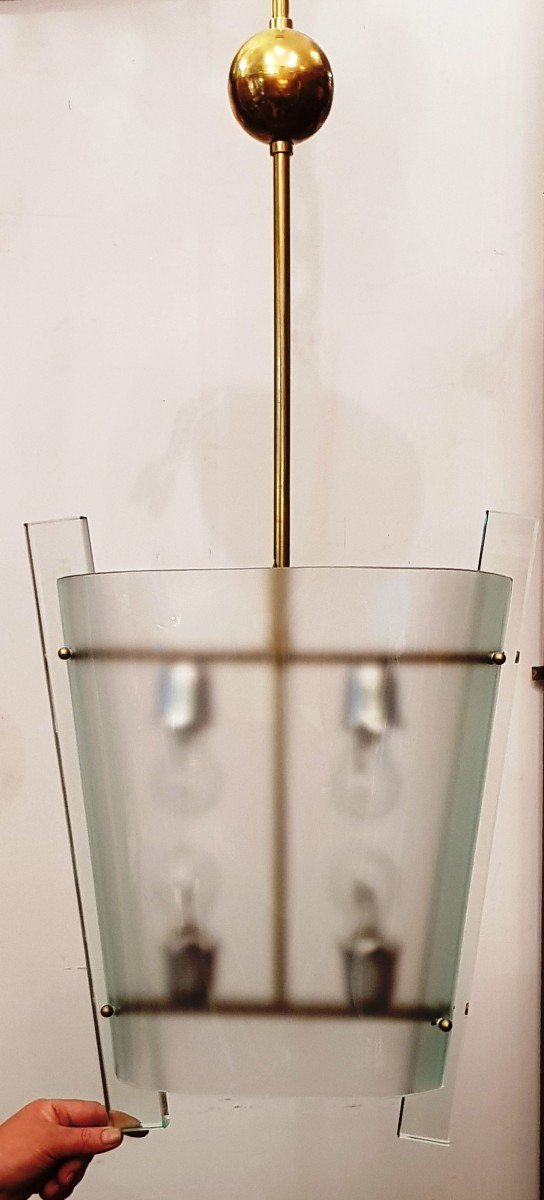 Suspension Chandelier Crystal And Brass Design XXs In The Spirit Of Fontana Arte