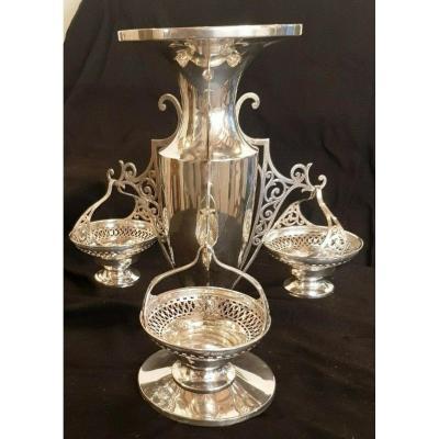épèrgne  Argent Anglais Antique Silver Sterling Centerpiece Birmingham Kg 1,295 High 33 Cm