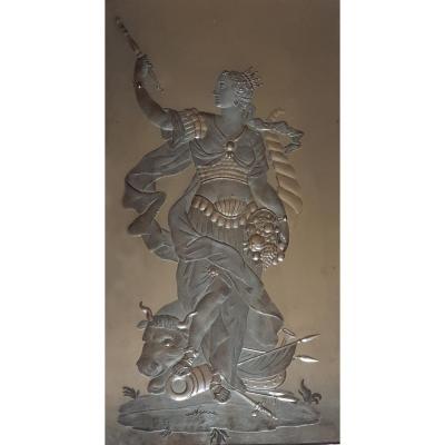 Miroir Ancien Gravé à l'Arrière Représentant Europe Sur Le Toro 27,5x49,5 Cm