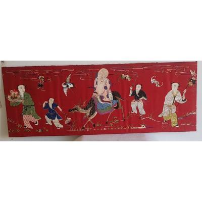 Tenture  Broderie en Soie Chinoise XIXème  Encadrée Cm 135x 32