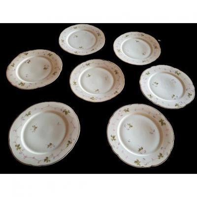 Suite 7 Assiettes Porcelaine Ginori XIX S Décor à La Main