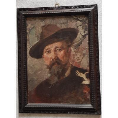 Huile Sur Toile Attribuée a Egisto Lancerotto Portrait Du Sculpteur Francesco Toso