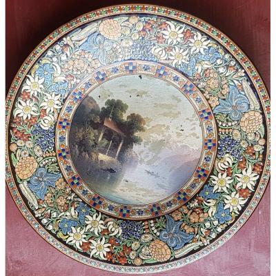 Très Grande Assiette Céramique émaillée Et Peinte Thoune  XIX S  50 Cm Diamètre