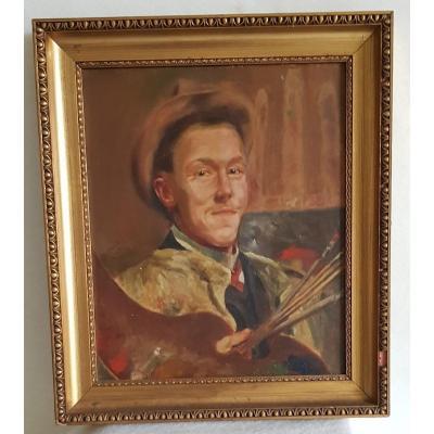 Gabriel Venet  Huile Sur Toile  début XXs portrait d'un peintre 55x46 Cm