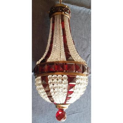 Petit Lustre Ancien Montgolfier En Cristal Blanc Et Rouge 18 Cm Diamètre